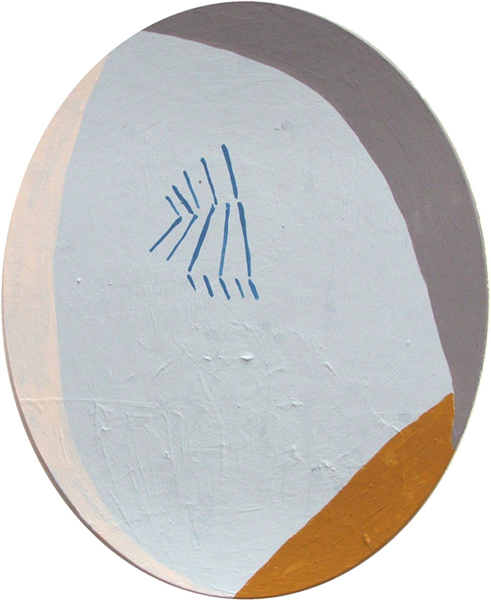 emulsion and various paint - oval board 30cm x 20cm